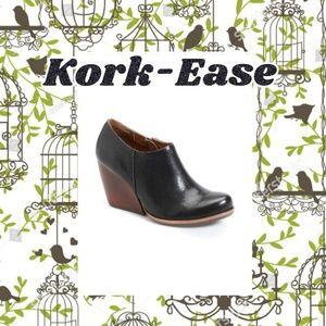 Kork-Ease Black Leather Wedge Ankle Booties